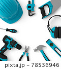 Top view of green construction tools for repair and installation on white 78536946