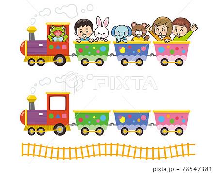 子供と動物が乗っているカワイイ汽車 78547381