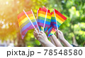 LGBT pride or LGBTQ+ gay pride with rainbow flag for lesbian, gay, bisexual, and transgender people human rights social equality movements in June month 78548580