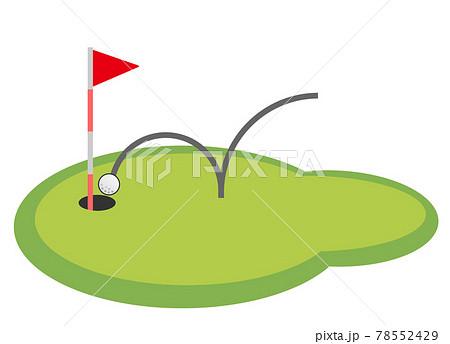 趣味のゴルフで奇跡のホールインワンをするイラスト 78552429