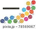 SDGsイメージの17の目標紫陽花のアイコンライン(英語) 78569067