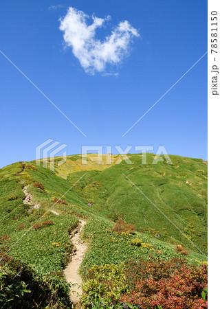 秋空と谷川岳の登山道(天神尾根) 78581150