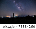 《大分県 九重》扇ヶ鼻山頂標識と星空 78584260