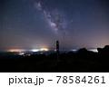 《大分県 九重》扇ヶ鼻山頂標識と夏の天の川 78584261