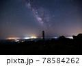 《大分県 九重》扇ヶ鼻山頂標識と星空 78584262