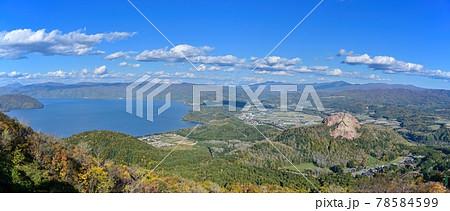 有珠山展望台から見た洞爺湖と昭和新山のパノラマ情景@北海道 78584599