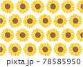 ひまわりのイラストの夏イメージの背景素材 78585950