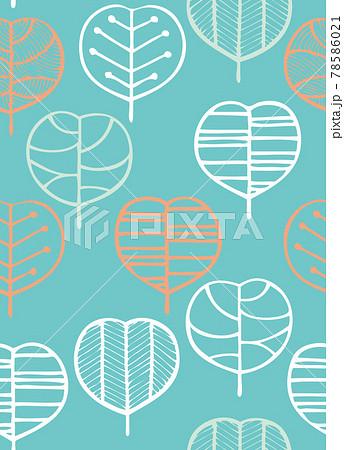 北欧風の植物のシームレスパターン 78586021