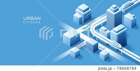 3D isometric building on urban city  background. Vector art illustration 78608784