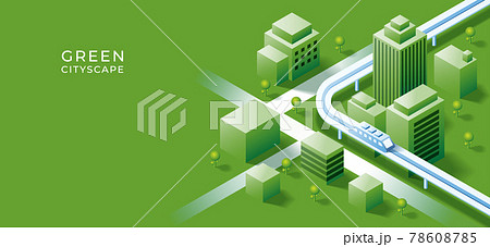 3D isometric building on urban city  background. Green and sustainability with smart city concept. Vector art illustration 78608785