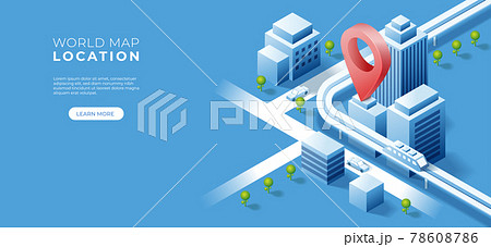 Navigator 3D isometric pin location checking on cityscape map background. Locator position point. Vector art illustration 78608786