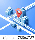 Navigator 3D isometric pin location checking on cityscape map background. Locator position point. Vector art illustration 78608787