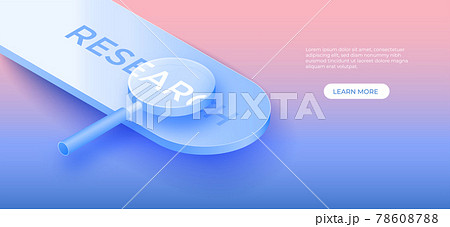Business Research and Development concept with 3D magnifier. vector art illustration 78608788