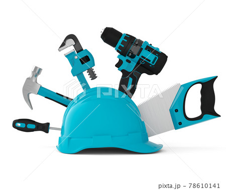 Isometric view of green construction tools for repair on white 78610141