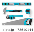 Top view of green construction tools for repair and installation on white 78610144