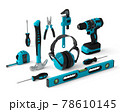 Isometric view of green construction tools for repair on white 78610145