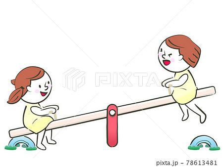 シーソーで遊ぶ二人の女の子 78613481