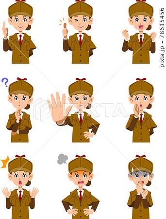 女性の探偵の上半身の9種類の表情と仕草のセット1 78615456