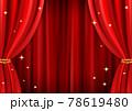 高級感のあるキラキラしたレッドカーテン背景(ベクターあり) 78619480