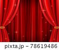 高級感のあるキラキラしたレッドカーテン背景(ベクターあり) 78619486