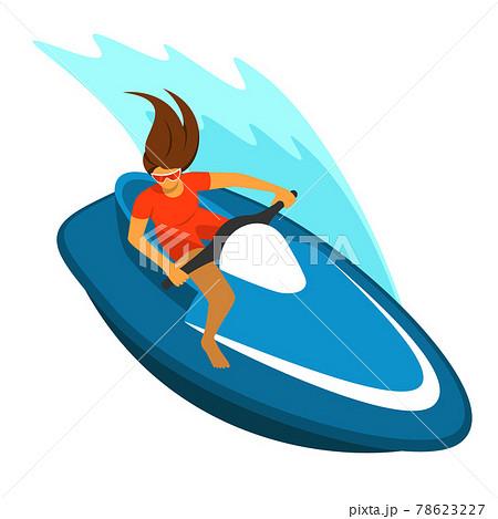 水上バイクを操船する若い女性 78623227