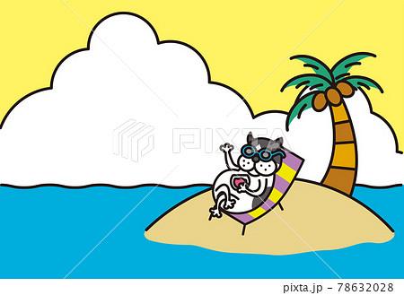 季節の素材:フレンチブルドッグの夏のカード 78632028