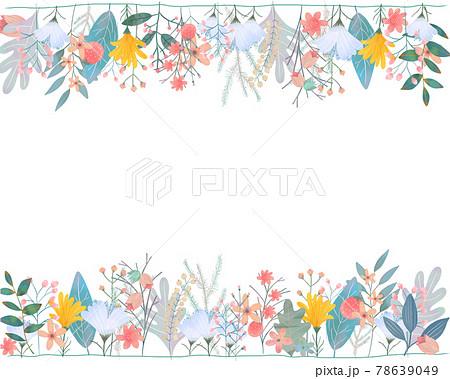 ポップで優しい色使いの北欧風オシャレな植物の白バックフレームイラスト素材 78639049
