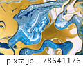 Marble blue ink and gold dust abstract background with gold gradient borders 78641176