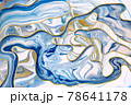 Agate ripple pattern imitation with gold dust. Blue abstract illustration. 78641178