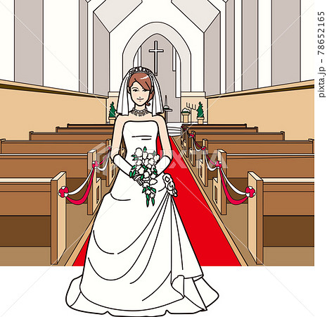 ウェディングドレスを着た女性 教会 78652165