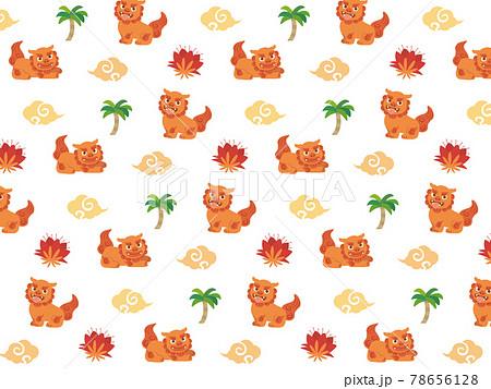 シーサーのシームレスパターン 沖縄 模様 背景 壁紙 78656128