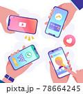 スマートフォンでsns、動画、キャッシュレス決済、オンラインショッピングをする人々のベクターイラスト 78664245