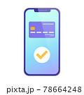 スマートフォンでキャッシュレス決済をするベクターイラスト(クレカ、クレジットカード、オンラインショッ 78664248