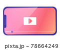 スマートフォンでインターネット動画を視聴するベクターイラスト 78664249