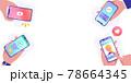 スマートフォンでsns、動画、キャッシュレス決済、オンラインショッピングをする人々のベクターイラスト 78664345