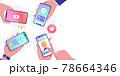 スマートフォンでsns、動画、キャッシュレス決済、オンラインショッピングをする人々のベクターイラスト 78664346