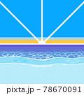 砂浜と水平線から出る朝陽の背景素材 78670091