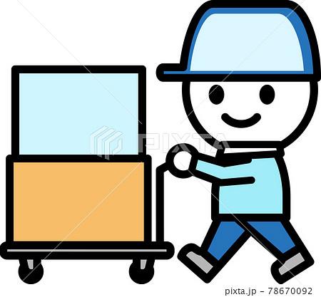 台車で箱を運ぶ配達員のアイコン 78670092