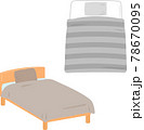 シンプルなベッドと寝具 78670095