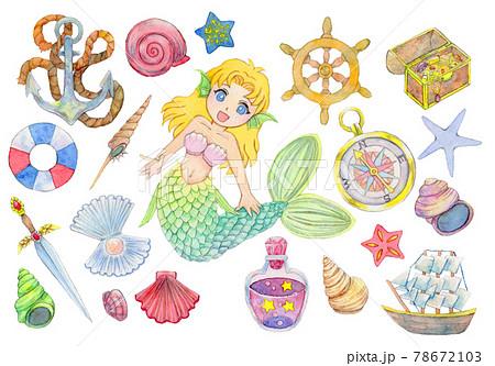 人魚と貝殻など海の小物 78672103