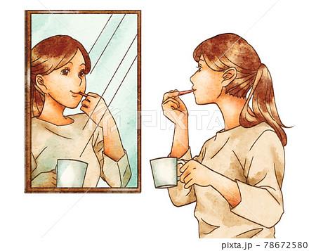 鏡を見て歯みがきをする女性 78672580