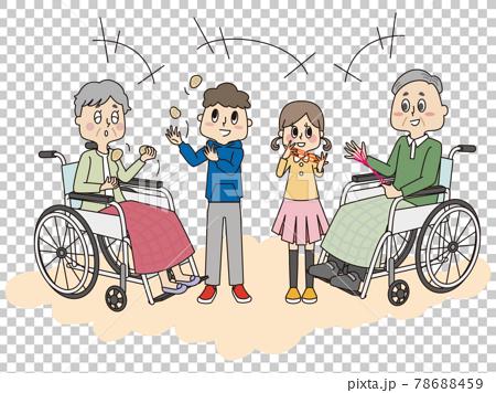 施設でこども達とお手玉やあやとりで遊ぶ車椅子のシニア女性とシニア男性 78688459