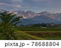 新緑と美しい白馬三山の朝焼け 長野県白馬村 78688804