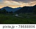 美しい白馬村の夜明けと新緑に包まれた姫川 長野県白馬村 78688806