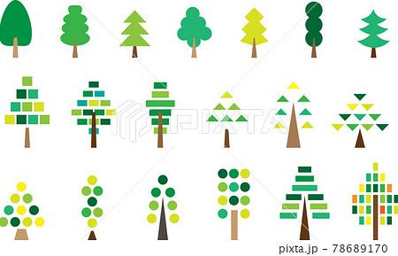 いろいろな木 緑ベース 枠線なし 78689170
