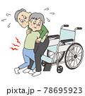 車椅子に夫をのせようと苦労をするシニア女性 78695923