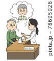 高齢の妻の代わりに窓口で薬を受け取るシニア男性 78695926