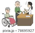 高齢の車椅子にのる妻の代わりに窓口で薬を受け取るシニア男性 78695927