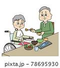 車椅子のシニア女性と食事介助するシニア男性 78695930
