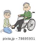 車椅子のシニア男性と靴下を履かせているシニア女性 78695931
